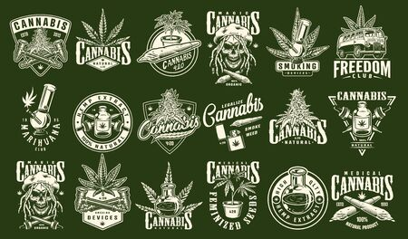 Vintage cannabis and marijuana prints set with inscriptions hemp plants oil van rastaman skull smoking equipment on green background isolated vector illustration