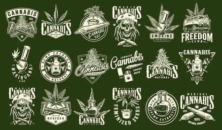 Vintage cannabis and marijuana prints set with inscriptions hemp plants oil van rastaman skull smoking equipment on green background isolated vector illustration Stock Vector - 128789541