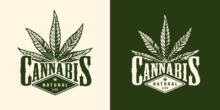 Vintage monochrome marijuana emblem with cannabis leaf and inscription isolated vector illustration