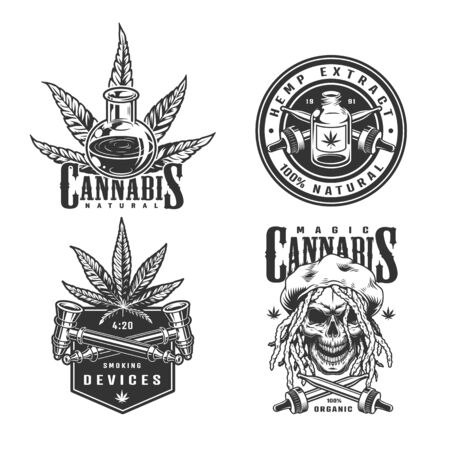 Vintage monochrome cannabis set with rastaman skull hemp oil plants crossed smoking pipes and pipettes isolated vector illustration