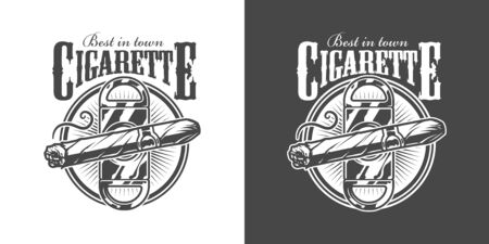Vintage monochrome mens club label with cigar guillotine and inscriptions isolated vector illustration Illustration