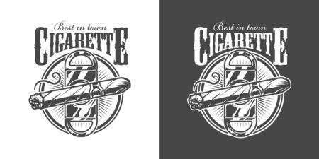 Vintage monochrome mens club label with cigar guillotine and inscriptions isolated vector illustration Illusztráció
