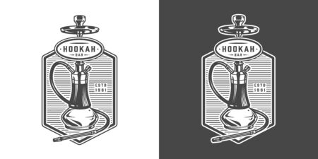 Vintage hookah lounge bar with shisha in monochrome style isolated vector illustration Archivio Fotografico - 128789613