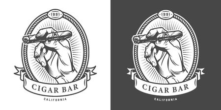 Vintage monochrome cigar bar label with male hand holding cuban cigar isolated vector illustration Иллюстрация