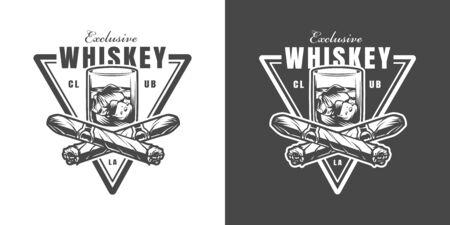 Emblème de club de whisky vintage avec des cigares en lambeaux croisés et un verre de boisson forte en illustration vectorielle isolée de style monochrome Vecteurs