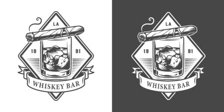 Vintage monochrome gentleman club with cuban cigar lying on glass of whisky isolated vector illustration