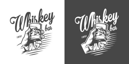 Monochrome whiskey bar with male hand holding glass of strong alcohol and ice cubes in vintage style isolated vector illustration