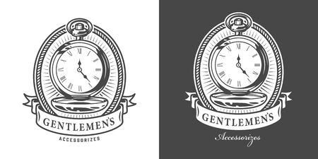 Vintage monochrome gentleman emblem with metal pocket watches isolated vector illustration