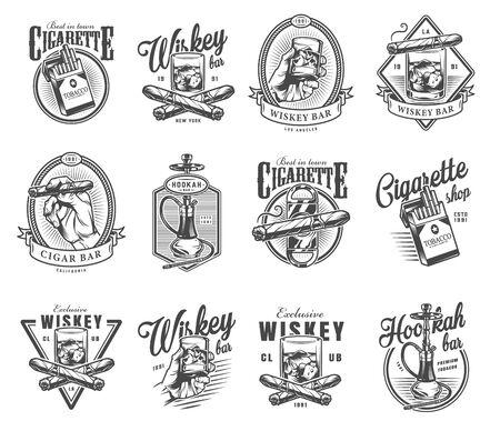 Vintage Gentleman Club Etiketten mit gekreuzten kubanischen Zigarren Zigarettenpackung Glas Whisky Shisha im monochromen Stil isolierte Vektorillustration
