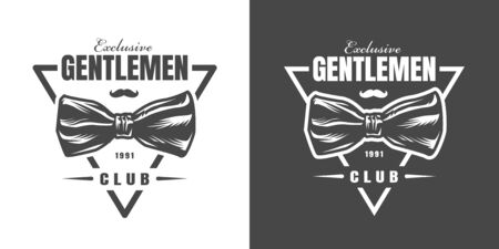 Vintage gentleman fashion triangular print with bow tie inscription mustache in monochrome style isolated vector illustration