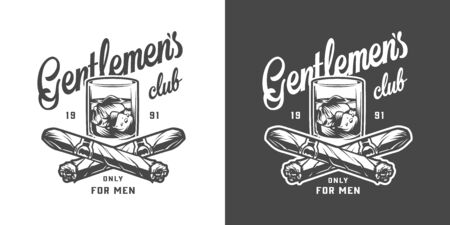 Vintage monochrome gentleman label with glass of whiskey and crossed cuban cigars isolated vector illustration Illustration