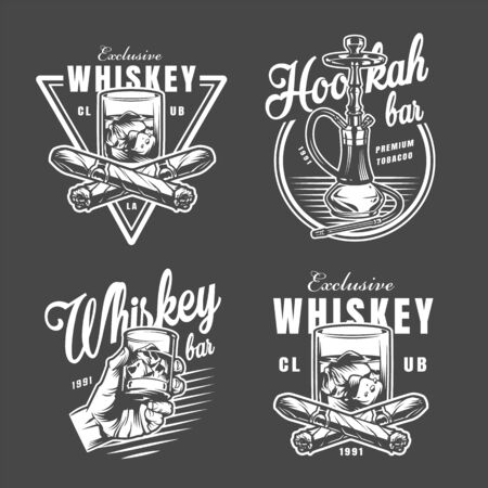 Vintage monochrome lounge bar prints collection with inscriptions glass of whiskey crossed cuban cigars and hookah isolated vector illustration