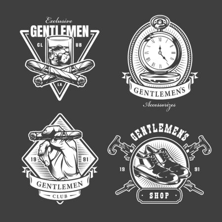 Monochrome gentleman club labels with hand holding cigar glass of whiskey pocket watches leather shoe crossed umbrellas in vintage style isolated vector illustration