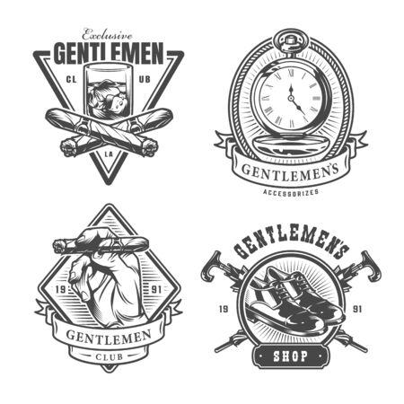 Vintage monochrome Gentleman-Drucke mit einem Glas Whisky-Taschenuhren, die Zigarrenlederschuhe halten, gekreuzte Regenschirme, isolierte Vektorillustration