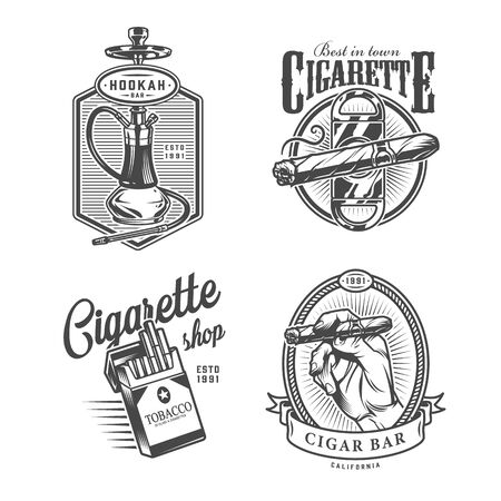 Vintage monochrome lounge bar labels with hookah cigar guillotine pack of cigarettes isolated vector illustration