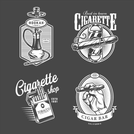 Vintage hookah and cigar bar with shisha cigar guillotine pack of cigarettes in monochrome style isolated vector illustration