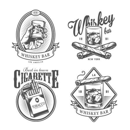 Étiquettes de club de gentleman monochrome vintage avec main tenant un verre de whisky traversé un paquet de cigares cubains de cigarettes illustration vectorielle isolée
