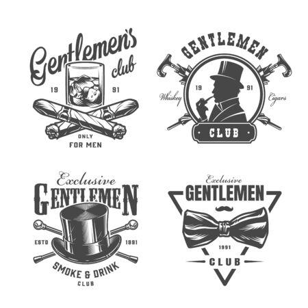 Set di etichette vintage monocromatiche per gentiluomo con bicchiere di whisky sigari incrociati canne uomo britannico elegante cappello a cilindro papillon isolato illustrazione vettoriale