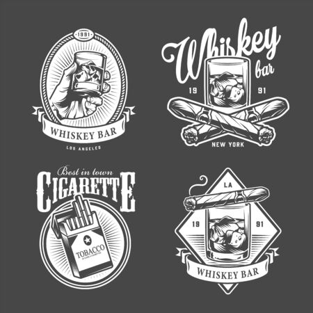 Vintage men's club with inscriptions glasses of whisky cigars cigarette pack in monochrome style isolated vector illustration