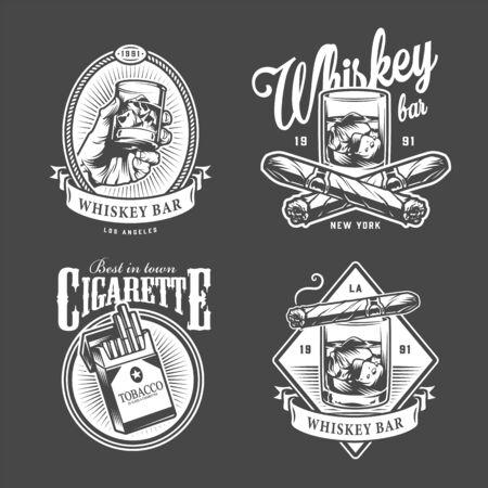 Vintage Herrenclub mit Aufschriften Gläser Whisky Zigarren Zigarettenpackung im monochromen Stil isolierte Vektorillustration