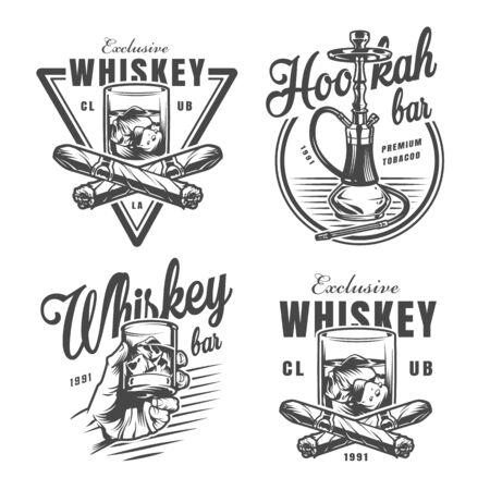Emblèmes de bar à whisky monochrome vintage avec verre de glaçons au whisky croisés cigares et narguilé isolé illustration vectorielle