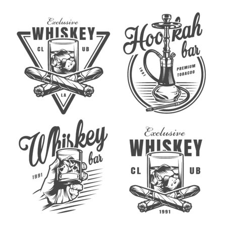 Vintage monochrome whiskey bar emblems with glass of whisky ice cubes crossed cigars and hookah isolated vector illustration