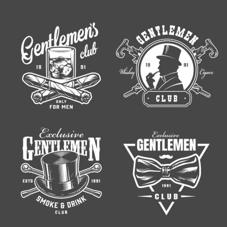Vintage gentleman collection with glass of whiskey crossed cuban cigars canes top hat bowtie british man in monochrome style isolated vector illustration