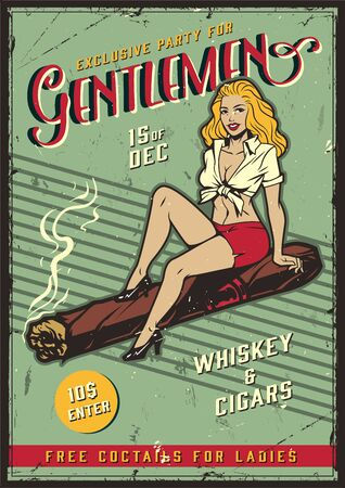 Vintage colorful gentlemen party template with beautiful blonde lady sitting on cuban cigar vector illustration