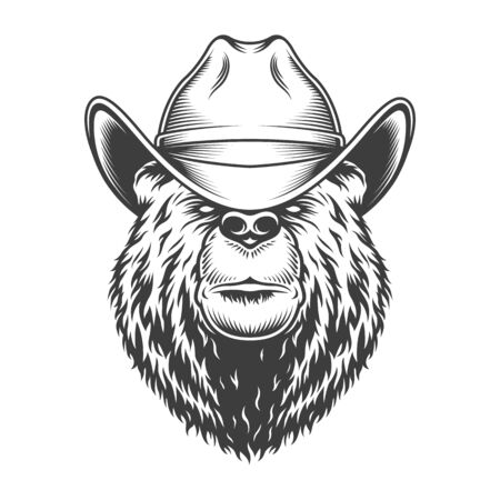 Vintage bear head in cowboy hat in monochrome style isolated vector illustration