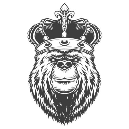 Vintage bear head in royal crown in monochrome style isolated vector illustration Illustration