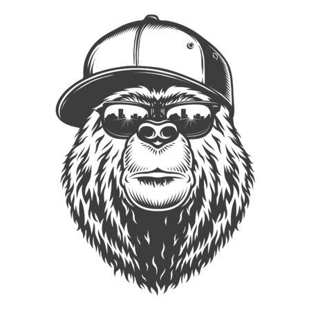Cabeza de oso con estilo monocromo vintage en gorra de béisbol y gafas de sol ilustración vectorial aislada