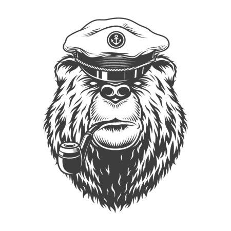 Vintage monochrome sea captain bear head smoking pipe in mariner hat isolated vector illustration Illustration