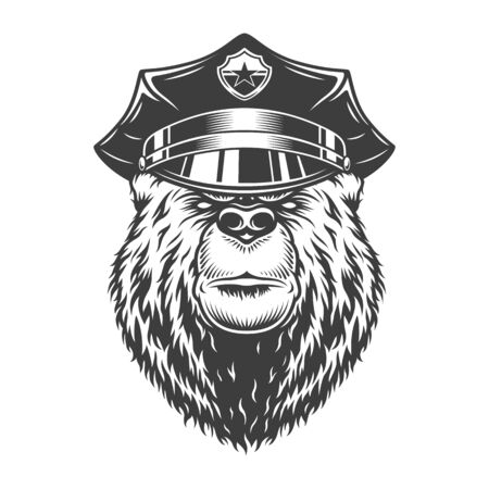 Monochrome serious bear in police cap in vintage style isolated vector illustration Illustration