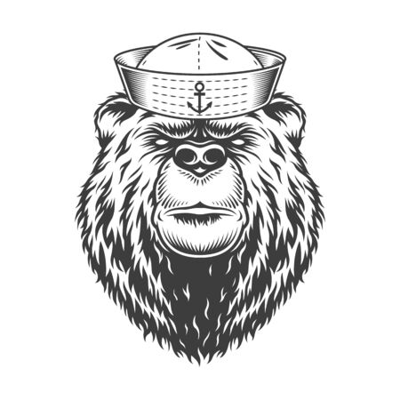 Mariner bear head wearing sailor hat in vintage monochrome style isolated vector illustration