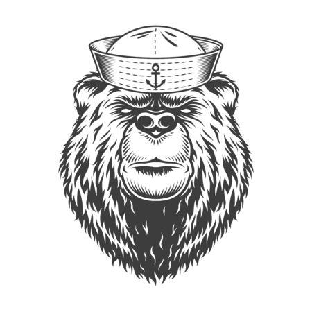Mariner bear head wearing sailor hat in vintage monochrome style isolated vector illustration
