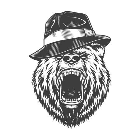Tête d'ours gangster monochrome au chapeau en illustration vectorielle isolée de style vintage