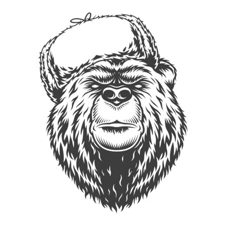 Vintage monochrome serious russian bear in traditional ushanka hat isolated vector illustration