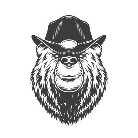 Serious bear head in gangster hat in monochrome vintage style isolated vector illustration