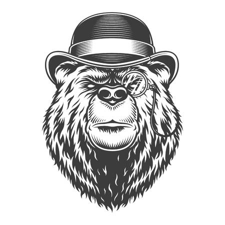 Vintage gentleman sérieux tête d'ours en chapeau fedora et pince-nez en illustration vectorielle isolée de style monochrome