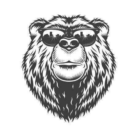 Tête d'ours sérieux à la mode monochrome vintage en illustration vectorielle de lunettes de soleil isolées