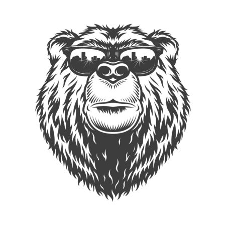 Vintage monochrome fashionable serious bear head in sunglasses isolated vector illustration Stock Vector - 128790020