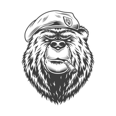 Navy seal bear head in beret smoking cuban cigar in vintage monochrome style isolated vector illustration