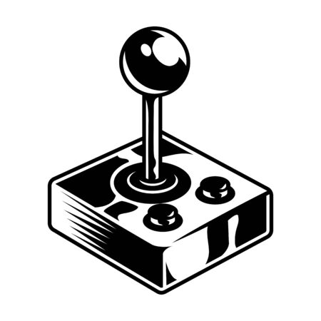 Retro joystick or gamepad concept in vintage monochrome style isolated vector illustration