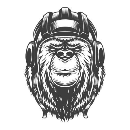Cabeza de oso tankman vintage en casco en estilo monocromo aislado ilustración vectorial Ilustración de vector