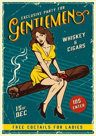 Vintage gentlemen party poster with pretty girl sitting on cuban cigar vector illustration Illustration