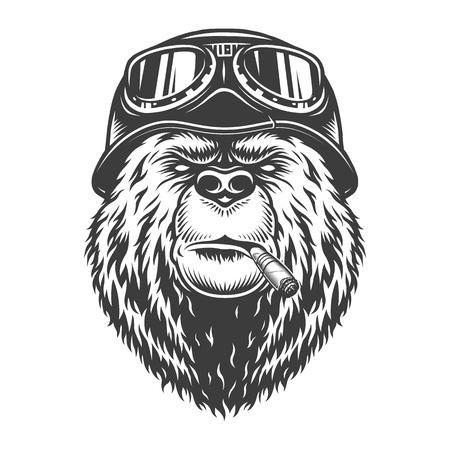 Vintage motociclista monocromatico testa di orso fumando sigaro e indossando casco da motociclista e occhiali isolati illustrazione vettoriale