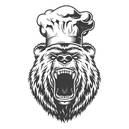 Chef bear head in cook hat in monochrome style isolated vector illustration Illustration