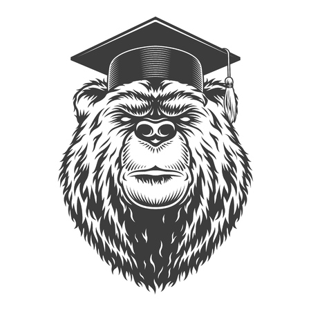 Vintage monochrome graduate bear head in graduation cap isolated vector illustration Иллюстрация