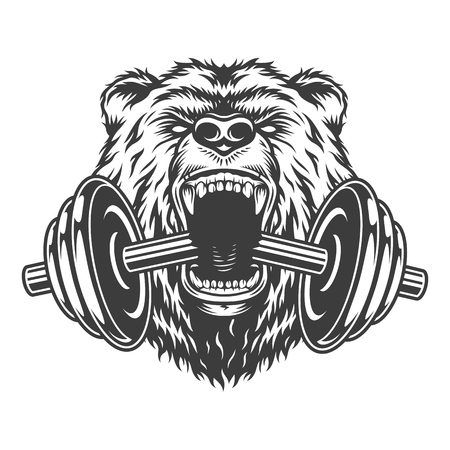 Angry bear head bites dumbbell in vintage monochrome style isolated vector illustration