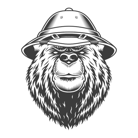 Explorer bear head in safari cap in vintage monochrome style isolated vector illustration